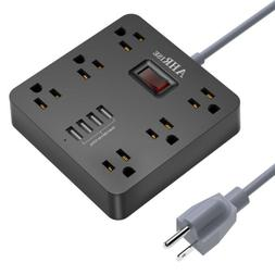 6 Outlet Power Strip 4 Smart USB Ports 5ft Extension Cord fo