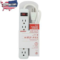 6 Outlet Power Strip Extension Cord Electric Cable Straight