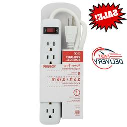 6 Outlet Power Strip Extension with Built-in Circuit Breaker