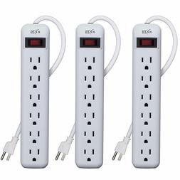 KMC 6-Outlet Power Strip, Overload Protection, 3-Foot Cord,