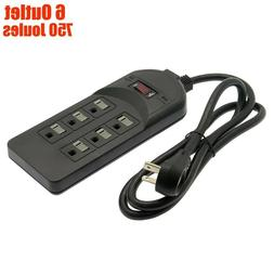 6 Outlet Power Strip Surge Protector 750J AC 120V 15A 4FT Co