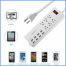 6 Outlet Power Strip Surge Protector W/ 8 USB Wall Charger P