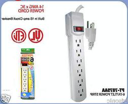 6 OUTLET POWER STRIP WITH RESET CIRCUIT BREAKER - 18 INCH CO