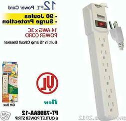 6 OUTLET POWER STRIP WITH SURGE PROTECTION - 12 ft CORD