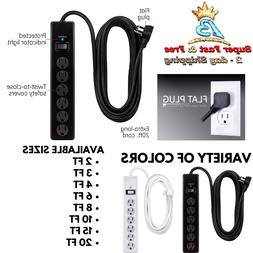6 Outlet Surge Protector 2 3 4 6 8 10ft Extension Cord Charg