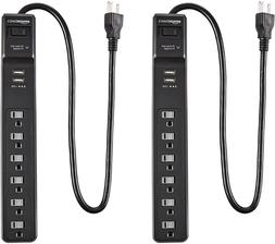 AmazonBasics 6 Outlet Surge Protector Power Strip 2-Pack, 20