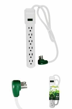 6 Outlet Surge Protector Power Strip Electric Cord Right Ang