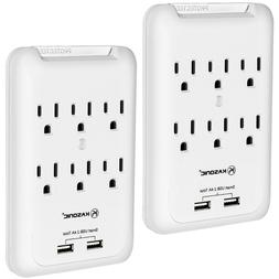 6-Outlet Wall Mount Surge Protector 2 Pack, Power Strip with