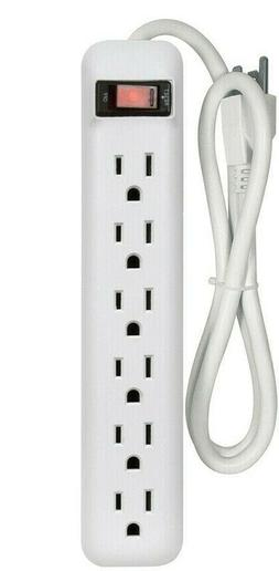 6-Outlet White Power Strip Built-in Circuit Breaker ELECTRIC