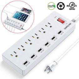 6 Outlet Surge Protector Power Strip with 6 USB Charging Por