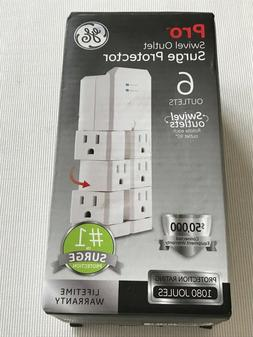 GE Pro 6-Outlet Surge Protector Tap with Swivel Outlets, Whi
