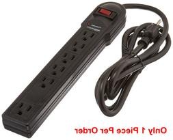 6FT 6 Grounded Outlet Power Strip Surge Protector Black 125V