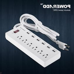 6ft 6 Outlet Power Strip 6 USB Charging Port With Surge Prot