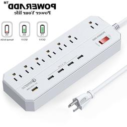 6FT 7 Outlet 5 USB Charging Port Power Strip with Surge Prot