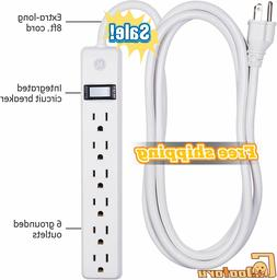 6outlet power strip 8ft long extension cord
