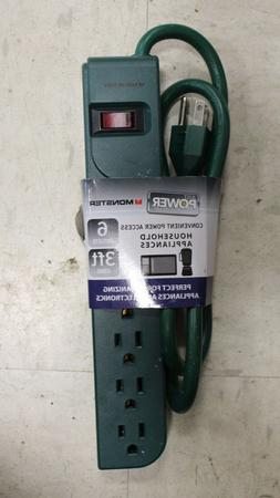 6OUTSTPGRN Monster Cable Just Power It Up 3 ft. L 6 outlets