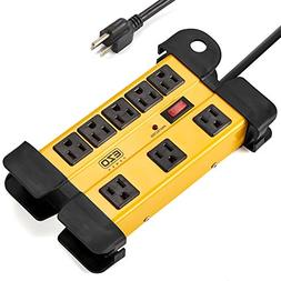 EZOPower 8 Outlet Industrial Safety Heavy-Duty Metal Housing
