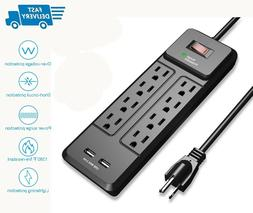 8 Outlet Power Strip Surge Protector 2 USB Ports 6 ft Extens