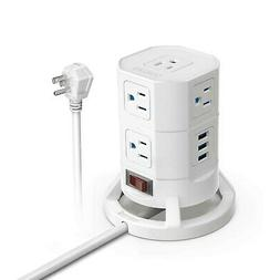 BESTEK 8-Outlet Power Strip Tower with 3 USB Charging Ports,