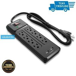 8 Outlet Surge Protector Power Strip 2 USB Ports with 6 ft E