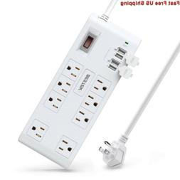 BESTEK 8-Outlet 15A Surge Protector Power Strip with USB, 5V