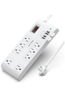 BESTEK 8-Outlet Surge Protector Power Strip with 4 USB Charg