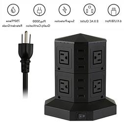 8-Outlet tower power strip, 6-Smart usb vertical power charg
