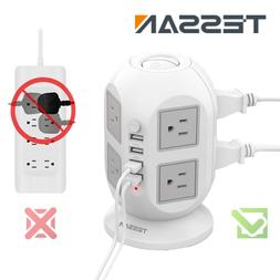 8 Widely Space Outlet Multi Plug Power Strip with 4 USB Port