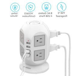 8 Widely Space Outlets Power Strip Surge Protector with 4 US