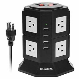 8A USB Charge Tower Power Strip JACKYLED 3000W/15A Vertical