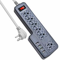 9.8ft JACKYLED Mountable Surge Protector Power Strip 6 Outle
