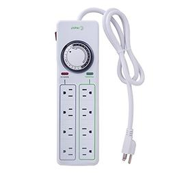 Century 8 Outlet Surge Protector with Mechanical Timer  - Wh