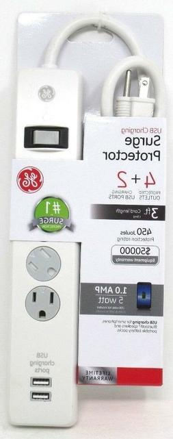 GE 14090 4-Outlet Surge Protector with 2 USB Charging Ports