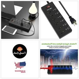 BEST Surge Protector Power Strip Outlet With 6 USB Multi Cha