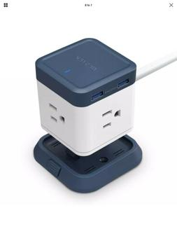 BESTEK USB Power Strip Travel Cube 3-Outlet and 4 USB Chargi