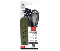 Globe Electric Designer Series 6ft 3-Outlet Power Strip, 2x