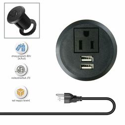 Desktop Power Grommet Outlets with USB Ports, Recessed 2 inc