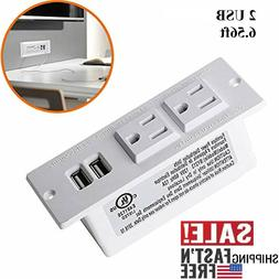 Desktop Power Strip Socket with 2 US Plugs, Multi-Protection