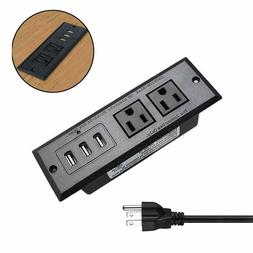 Desktop Power Strip with USB Recessed Power Socket,Conferenc