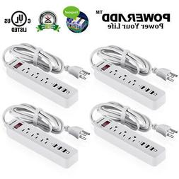 4pcs Poweradd 3 Port Outlet Power Strip Surge Protector with