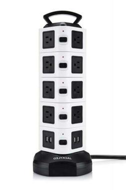 JACKYLED Electric Power Strip 18 Outlet Plugs with 4 USB Slo