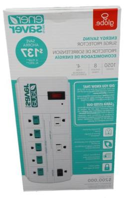 Globe Energy Saving Ener Saver Power Strip Surge Protector 8