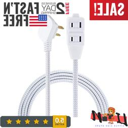Extension Cord Braided 2 Prong Power Strip Extra Long 8 Ft C