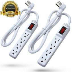 Flat Plug Extension Cord 3 Prong 4Outlet Extender Surge Prot