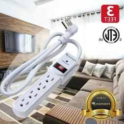 4 Outlet Surge Protector Power Strip Grounded Flat Plug Exte