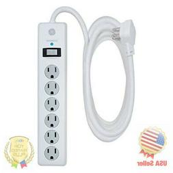 GE 6 Outlet Surge Protector, 10 Ft Extension Cord, Power Str