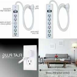 Ge, White, Outlet Surge Protector, 6 Ft Extension Cord, Powe