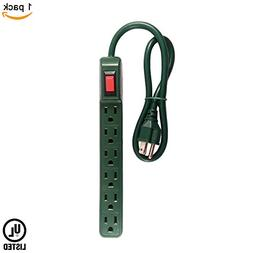 Uninex Green Slim 6 Outlet Power Strip 14 Gauge 2 FT UL List