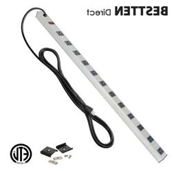 BESTTEN 16 Outlet Heavy Duty Metal Power Strip w/ 15-Foot Ex