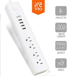 ON USB Surge Protector Power Strip-4 Multi Outlets with 4 US